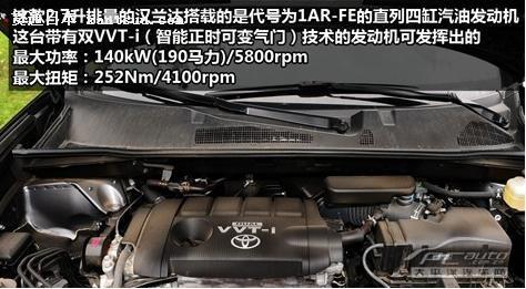 汉兰达装备的2.7升发动机